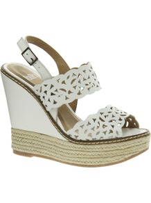 Dawson White Leather Wedge Sandals - predominant colour: white; secondary colour: white; occasions: casual, evening, holiday; material: leather; ankle detail: ankle strap; heel: wedge; toe: open toe/peeptoe; style: standard; finish: plain; pattern: plain; heel height: very high