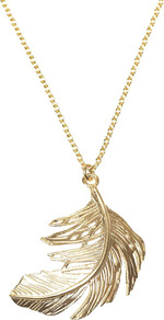 Gold Big Single Feather Necklace - predominant colour: gold; occasions: casual, evening, work, occasion, holiday; style: pendant; length: long; size: small/fine; material: chain/metal; trends: metallics; finish: metallic; embellishment: chain/metal
