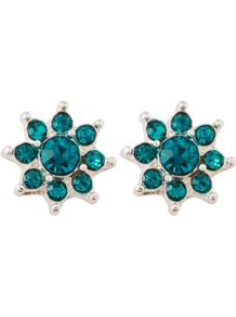 Starburst Stud Earrings Turquoise - predominant colour: teal; secondary colour: silver; occasions: casual, evening, occasion, holiday; style: stud; length: short; size: small; material: chain/metal; fastening: pierced; finish: metallic; embellishment: jewels