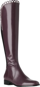 Joanne Knee Boots - predominant colour: aubergine; occasions: casual; material: leather; heel height: flat; heel: standard; toe: round toe; boot length: knee; style: standard; finish: plain; pattern: plain; embellishment: chain/metal