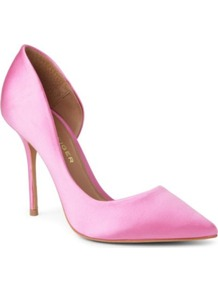 Anja Satin Courts - predominant colour: pink; occasions: evening, work, occasion; material: satin; heel height: high; heel: stiletto; toe: pointed toe; style: courts; finish: plain; pattern: plain