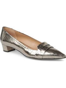 Loire Mock Croc Leather Pumps - predominant colour: gold; occasions: evening, work; material: faux leather; heel height: flat; toe: pointed toe; style: ballerinas / pumps; trends: metallics; finish: metallic; pattern: animal print