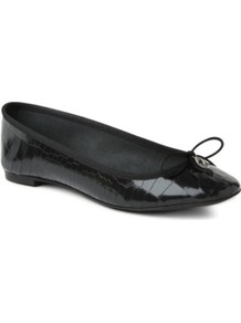 Lourdes Leather Pumps - predominant colour: black; occasions: casual, evening, work; material: leather; heel height: flat; toe: round toe; style: ballerinas / pumps; finish: patent; pattern: plain; embellishment: bow
