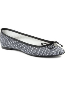 Lourdes Snake Print Leather Pumps - occasions: casual, work, holiday; material: leather; heel height: flat; toe: round toe; style: ballerinas / pumps; predominant colour: monochrome; finish: patent; pattern: animal print; embellishment: chain/metal