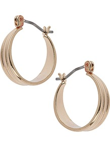 Small Gold Hoop - predominant colour: gold; occasions: casual, evening, work, occasion, holiday; style: hoop; length: mid; size: small; material: chain/metal; fastening: pierced; trends: metallics; finish: metallic; embellishment: chain/metal