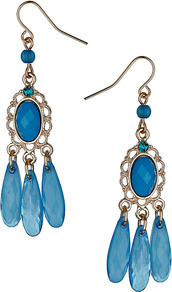 Turquoise Chandelier Earrings - predominant colour: diva blue; secondary colour: gold; occasions: evening, occasion, holiday; style: chandelier; length: long; size: large/oversized; material: chain/metal; fastening: pierced; finish: metallic; embellishment: jewels