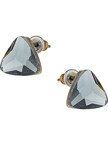 Grey Triangle Studs - predominant colour: charcoal; occasions: casual, evening, work, occasion, holiday; style: stud; length: short; size: standard; material: chain/metal; fastening: pierced; finish: metallic; embellishment: crystals