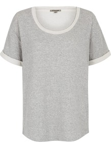 Double Faced Jersey T Shirt - pattern: plain; style: t-shirt; predominant colour: light grey; occasions: casual; length: standard; neckline: scoop; fibres: cotton - mix; fit: loose; sleeve length: short sleeve; sleeve style: standard; texture group: jersey - stretchy/drapey