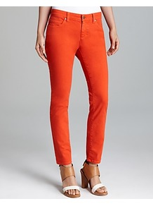 Skinny Ankle Jeans & Campaign - style: skinny leg; pattern: plain; pocket detail: traditional 5 pocket; waist: mid/regular rise; predominant colour: bright orange; occasions: casual, evening, holiday; length: ankle length; fibres: cotton - stretch; texture group: denim; pattern type: fabric