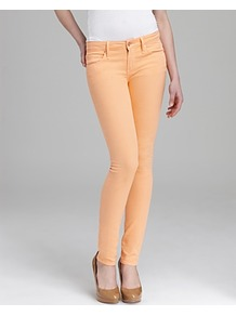 Jeans Gaia Super Skinny In Apricot - style: skinny leg; length: standard; pattern: plain; pocket detail: traditional 5 pocket; waist: mid/regular rise; predominant colour: coral; occasions: casual, evening, holiday; fibres: cotton - stretch; texture group: denim; trends: fluorescent; pattern type: fabric
