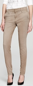 Pants Twill Creased Chino - length: standard; pattern: plain; waist: low rise; predominant colour: taupe; occasions: casual, work; style: chino; fibres: cotton - stretch; texture group: cotton feel fabrics; fit: skinny/tight leg; pattern type: fabric