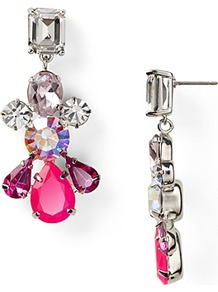 Glamour Girl Colorful Gemstone Linear Earrings - predominant colour: hot pink; secondary colour: silver; occasions: evening, work, occasion; style: drop; length: long; size: large/oversized; material: chain/metal; fastening: pierced; trends: metallics; finish: metallic; embellishment: crystals