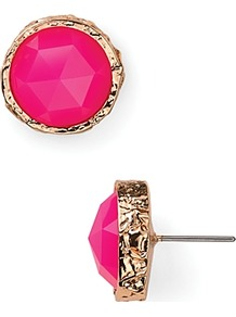 Pink Stone Large Stud Earrings - predominant colour: hot pink; secondary colour: gold; occasions: evening; style: stud; length: short; size: standard; material: chain/metal; fastening: pierced; finish: patent