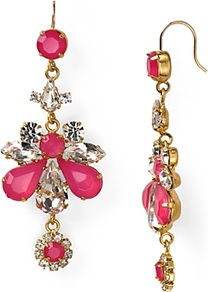 Sparkling Starboard Rhinestone Chandelier Earrings - predominant colour: hot pink; occasions: evening, occasion; style: chandelier; length: long; size: large/oversized; material: chain/metal; fastening: pierced; trends: fluorescent; finish: plain; embellishment: crystals; secondary colour: clear