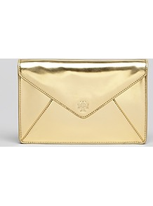 Clutch Large Envelope - predominant colour: gold; occasions: evening, occasion; type of pattern: standard; style: clutch; length: hand carry; size: small; material: faux leather; pattern: plain; trends: metallics; finish: metallic