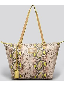 Tote Miranda Zip - predominant colour: lime; secondary colour: stone; occasions: casual; type of pattern: standard; style: shoulder; length: shoulder (tucks under arm); size: oversized; material: faux leather; pattern: animal print; finish: plain