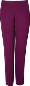 Madera Timba Straight Leg Trousers - pattern: plain; waist: mid/regular rise; predominant colour: magenta; occasions: casual, evening, occasion; length: ankle length; fibres: polyester/polyamide - 100%; texture group: crepes; fit: slim leg; pattern type: fabric; style: standard