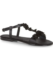 Black Flower Leather Sandals - predominant colour: black; occasions: casual, holiday; material: leather; heel height: flat; ankle detail: ankle strap; heel: standard; toe: open toe/peeptoe; style: standard; finish: plain; pattern: plain; embellishment: applique