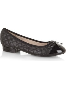 Black Quilted Pumps - predominant colour: black; occasions: casual, evening, work; material: faux leather; heel height: flat; embellishment: quilted; toe: round toe; style: ballerinas / pumps; finish: plain; pattern: plain