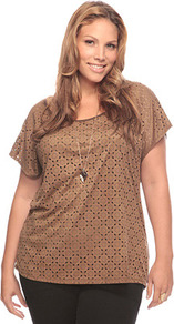 Glitter Front Crop Top - pattern: plain; predominant colour: camel; occasions: casual; length: standard; style: top; fibres: polyester/polyamide - stretch; fit: body skimming; neckline: crew; sleeve length: short sleeve; sleeve style: standard; texture group: cotton feel fabrics