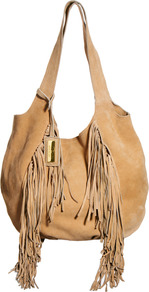Tan Fringed Suede Slouch Hobo Bag - predominant colour: camel; occasions: casual, holiday; length: shoulder (tucks under arm); size: oversized; material: suede; embellishment: fringing; pattern: plain; finish: plain; style: hobo