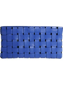 Leather Clutch Bag In Bright Weave - predominant colour: diva blue; occasions: casual, evening, occasion, holiday; type of pattern: standard; style: clutch; length: hand carry; size: standard; material: leather; pattern: plain; finish: plain