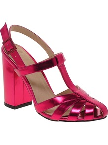 Happy Days Heeled Sandals - predominant colour: hot pink; occasions: evening, occasion, holiday; material: faux leather; heel height: high; ankle detail: ankle strap; heel: block; style: strappy; trends: metallics; finish: metallic; pattern: plain; toe: caged