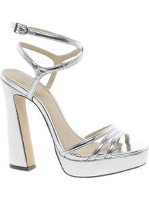 Hypnotise Heeled Sandals - predominant colour: silver; occasions: evening, occasion; material: faux leather; ankle detail: ankle strap; heel: platform; toe: open toe/peeptoe; style: strappy; trends: metallics; finish: metallic; pattern: plain; heel height: very high