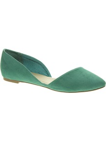 Link Pointed Ballet Flats - predominant colour: emerald green; occasions: casual, holiday; material: faux leather; heel height: flat; toe: pointed toe; style: ballerinas / pumps; finish: plain; pattern: plain