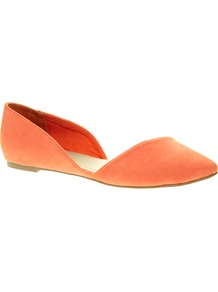 Link Pointed Ballet Flats - predominant colour: coral; occasions: casual, work, holiday; material: fabric; heel height: flat; toe: pointed toe; style: ballerinas / pumps; finish: plain; pattern: plain