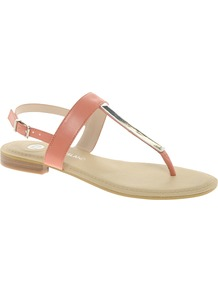 Metal Toepost Apricot Sandals - predominant colour: coral; secondary colour: silver; occasions: casual, holiday; material: faux leather; heel height: flat; heel: standard; toe: toe thongs; style: flip flops / toe post; finish: plain; pattern: plain; embellishment: chain/metal