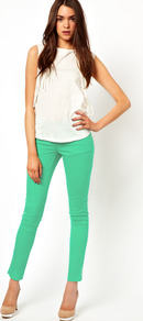 Jegging In Green - pattern: plain; waist: low rise; style: jeggings; pocket detail: traditional 5 pocket; predominant colour: mint green; occasions: casual; length: ankle length; fibres: cotton - stretch; texture group: denim; pattern type: fabric