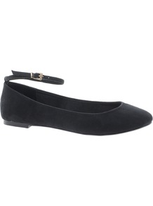 Liquid Ballet Flats - predominant colour: black; occasions: casual, work; material: fabric; heel height: flat; ankle detail: ankle strap; toe: round toe; style: ballerinas / pumps; finish: plain; pattern: plain