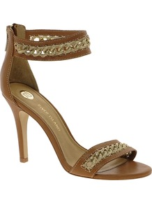 Chain Ankle Strap Tan Sandals - predominant colour: tan; occasions: evening, occasion, holiday; material: leather; heel height: high; ankle detail: ankle strap; heel: stiletto; toe: open toe/peeptoe; style: standard; finish: plain; pattern: plain; embellishment: chain/metal