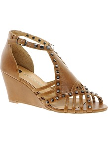 Gladiator Studded Tan Wedge Sandals - predominant colour: tan; occasions: casual, evening, holiday; material: faux leather; heel height: mid; embellishment: studs; ankle detail: ankle strap; heel: wedge; toe: open toe/peeptoe; style: strappy; finish: plain; pattern: plain