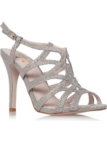 Gertrude Sandals, Gold - predominant colour: silver; occasions: evening, occasion; material: fabric; heel height: high; embellishment: glitter; ankle detail: ankle strap; heel: stiletto; toe: open toe/peeptoe; style: strappy; trends: metallics; finish: metallic; pattern: plain
