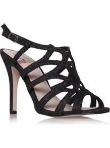 Gertrude Sandals, Black - predominant colour: black; occasions: evening, occasion; material: fabric; heel height: high; embellishment: glitter; ankle detail: ankle strap; heel: stiletto; toe: open toe/peeptoe; style: strappy; trends: metallics; finish: plain; pattern: plain