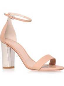 Isabella Sandals, Gold - predominant colour: nude; occasions: casual, evening, occasion, holiday; material: leather; heel height: high; ankle detail: ankle strap; heel: block; toe: open toe/peeptoe; style: standard; finish: plain; pattern: plain