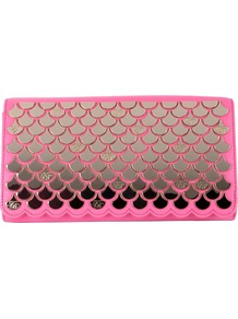 Aireal Fish Scale Clutch Bag, Pink/Gold - predominant colour: hot pink; secondary colour: silver; occasions: evening, occasion; type of pattern: standard; style: clutch; length: hand carry; size: small; material: leather; pattern: plain; trends: metallics; finish: plain; embellishment: chain/metal