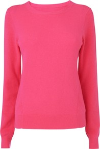 Cashmere Jumper, Bright Pink - neckline: round neck; pattern: plain; style: standard; predominant colour: hot pink; occasions: casual, work; length: standard; fibres: wool - mix; fit: slim fit; sleeve length: long sleeve; sleeve style: standard; texture group: knits/crochet; pattern type: knitted - fine stitch