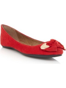 Red Metal Trim Bow Pumps - predominant colour: true red; secondary colour: gold; occasions: casual, evening, work, holiday; material: fabric; heel height: flat; toe: round toe; style: ballerinas / pumps; finish: plain; pattern: plain; embellishment: bow