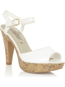 White Patent Cork Platform Sandals - predominant colour: white; occasions: casual, holiday; material: faux leather; heel height: high; ankle detail: ankle strap; heel: platform; toe: open toe/peeptoe; style: standard; finish: patent; pattern: plain