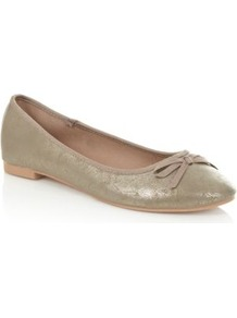 Gold Metallic Ballet Pumps - predominant colour: gold; occasions: casual, holiday; material: faux leather; heel height: flat; embellishment: glitter; toe: round toe; style: ballerinas / pumps; trends: metallics; finish: metallic; pattern: plain