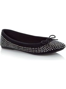 Black Diamante Embellished Ballet Pumps - predominant colour: black; occasions: casual; material: fabric; heel height: flat; embellishment: crystals; toe: round toe; style: ballerinas / pumps; finish: plain; pattern: plain