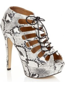 Grey Lace Up Snake Skin Platform Heels - predominant colour: mid grey; occasions: evening, holiday; material: faux leather; heel height: high; ankle detail: ankle strap; heel: platform; toe: open toe/peeptoe; style: strappy; finish: plain; pattern: animal print