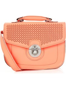 Neon Coral Cut Out Mini Satchel - predominant colour: coral; occasions: casual, holiday; type of pattern: standard; style: satchel; length: handle; size: small; material: faux leather; pattern: plain; trends: fluorescent; finish: plain