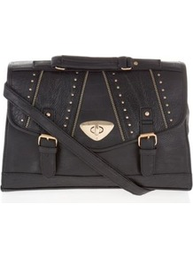 Black Zip Edge Stud Envelope Satchel - predominant colour: black; occasions: casual, work; type of pattern: standard; style: satchel; length: across body/long; size: standard; material: faux leather; embellishment: studs; pattern: plain; finish: plain
