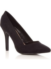 Black Suedette Pointed Court Shoes - predominant colour: black; occasions: evening, work, occasion; material: suede; heel height: high; heel: stiletto; toe: pointed toe; style: courts; finish: plain; pattern: plain