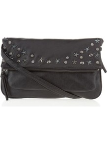 Black Star And Stud Across Vody Bag - predominant colour: black; occasions: casual, evening, holiday; type of pattern: standard; style: shoulder; length: across body/long; size: small; material: faux leather; embellishment: studs; pattern: plain; finish: plain
