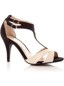 Wide Fit Black And Cream Cross Strap T Bar Heels - secondary colour: ivory; predominant colour: black; occasions: evening, occasion; material: faux leather; heel height: high; ankle detail: ankle strap; heel: stiletto; toe: open toe/peeptoe; style: strappy; finish: patent; pattern: colourblock